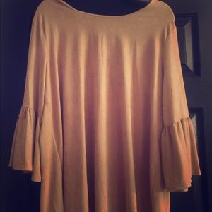 Camel colored suede top